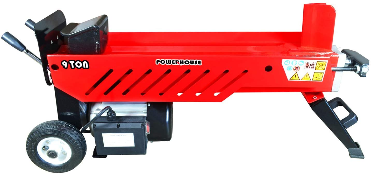 Powerhouse Log Splitters XM-580 9 Ton Electric Hydraulic Horizontal Log Splitter, Red Black Silver